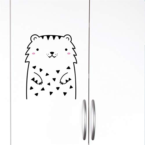 Mome Decorative Painting Bedroom Livingroom Wall Stickers Black and White Minimalist Line Stick Figure Cute Bear Naughty Cat for Kid Room Decoration Living Room Bedroom (Black D)
