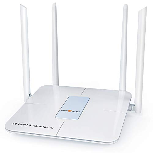 Wireless Router 1200mbps Long Range Wifi Router Ac High Speed Dual Band Router with 4 Lan Ports for Home Office internet Router Amazon Alexa with Wifi Extender for 2.4 ghz