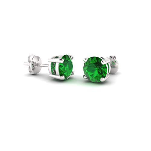(Diamondere Natural and Certified Emerald Solitaire Petite Stud Earrings in 14K White Gold | 0.44 Carat Earrings for Women)