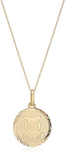 14k Yellow Gold Swiss Cut Taurus Pendant Necklace, 18