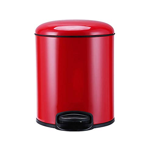 DEI QI 8L Pedal Trash Can with Lid Garbage Can Garbage Bucket Garbage Cans for Living Room, Bedroom, Study, Kitchen, Office (Color : Red) ()