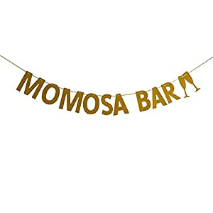 Momosa Bar Bunting Banner, Baby Shower Sign, Bridal Shower, Bachelorette, Wedding, Mimosa Bar Party Decorations, Gold Glitter