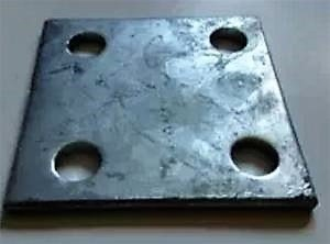 ((Set of 4) 6X6 Heavy Galvanized Stanchion Plates/Floor Flanges for Chain Link)