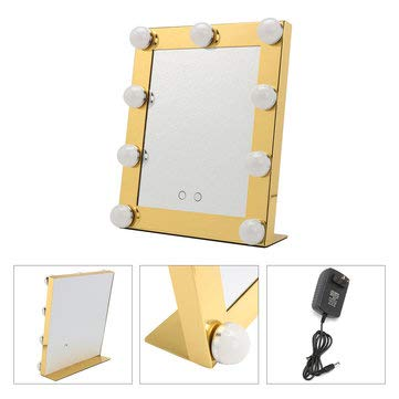 Hollywood Vanity Lighted 9 Bulbs Makeup Mirror With Dimmer Stage Beauty Touch -Lights & Lighting Holiday Lights - (Gold) - 1xMirror, 1xPlug ()