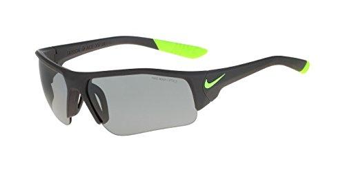 Nike Golf Skylon Ace XV Junior Sunglasses, Matte Dark Grey/Cyber Frame, Grey with Silver Flash/Lime - Sunglasses Nike Kids