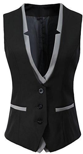 Vocni Women V-Neck Slim Fit Business Office Bottoned Dressy Suit Vest Waistcoat,Black,US XS+ (Fit Bust 30.3''-32.7''),Tag L by Vocni
