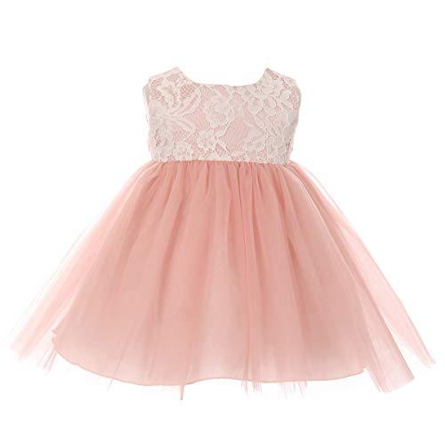 Bodice Skirt Bridal - Baby Girls Bridal Lace Bodice Tulle Layered Skirt Elegant Wedding Party Birthday (Dusty Rose, 18-24 Months)