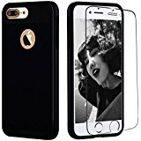 iPhone 7 Plus Case, Kuool Slim Hybrid Dual Layer Armor Rugged Heavy Duty Anti-slip Full Protection Cover with [Tempered Glass Screen Protector] for iPhone 7 Plus-Black