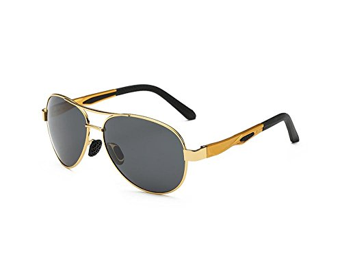 Hero Ultralight aviation aluminum-magnesium aviator sunglasses (Gold frame Black - Pilot Jim Gold Maui