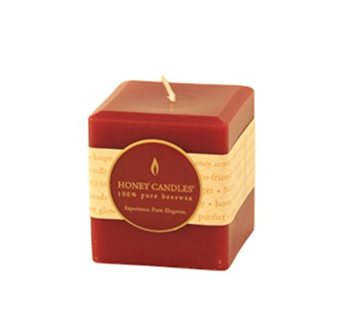 "Honey Candles Pure Beeswax 3"" x 3"" Square Pillar-Burgundy"