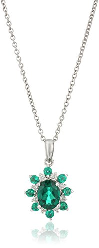 Sterling Silver Lab Emerald and Diamond Flower Pendant Necklace (1/10cttw, H-I Color, I1-I2 Clarity), 18''