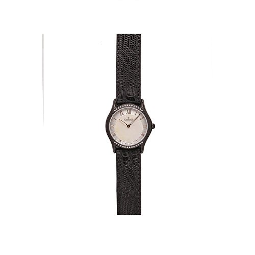Charmex Cannes 6335 30mm Stainless Steel Case Black Calfskin Synthetic Sapphire Women's Watch