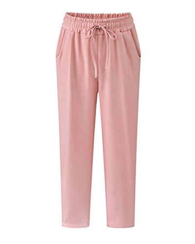 Tasche Vita Donna Elasticizzata Sciolto Cargo A Alta Cintura Pantaloni Da Con Pink 5Y7zwSgq