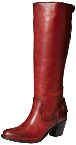 Frye Jackie de la mujer Zip Tall Boot Burnt Red-76307