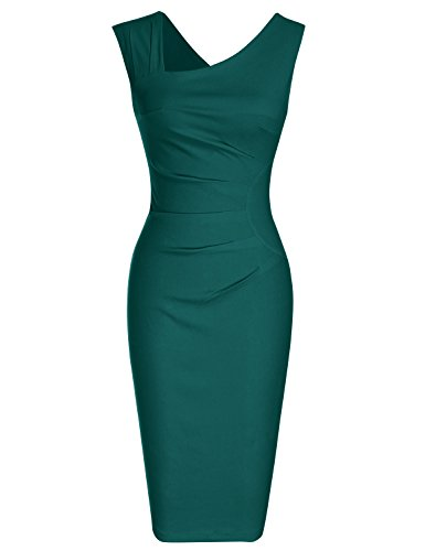 MUXXN Women's Pinup 1940s Cap Sleeve Tunic Sheath Casual Midi Dress (3XL, Dark Green)