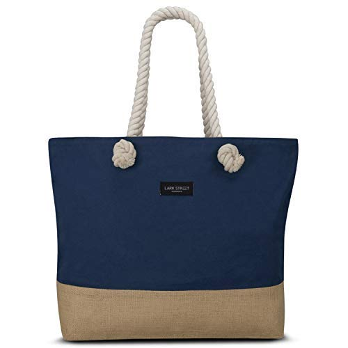 (Beach Bag Blue - LARK STREET Travel Tote for Women & Men Made of Sturdy Cotton Canvas & Jute - Swim Bag with Wide Rope Handles for Comfort - Large Carrier Bag with Zipper)