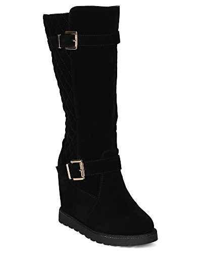 Womens Ultra Tall Sand (Nature Breeze BG18 Women Suede Quilted Buckle Tall Riding Wedge Boot - Black (Size: 10))