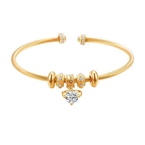 E Charms Bangle Bracelets Rings Beads, Cuff Bracelet for Women Teen Girls Love Engraved Open Adjustable Jewelry Alloy Gold Platinum Rose Gold Plated 3 Colors (18K Gold Plated)