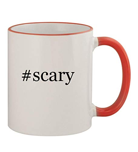 #scary - 11oz Hashtag Colored Rim & Handle Sturdy Ceramic Coffee Cup Mug, Red -