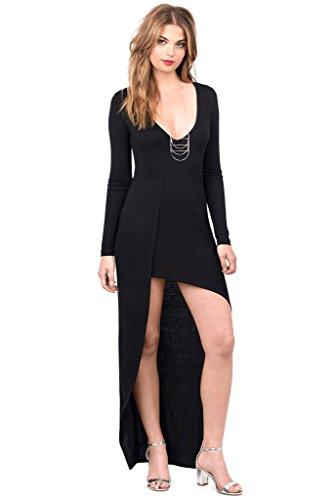 Partie De L'ourlet Irrégulier Profond Col V Femmes Dantiya Robe Noire