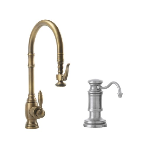 Waterstone 5600-2-PN Annapolis Kitchen Faucet Single Handle with Pull Out Spray, Soap/Lotion Dispenser, Air Gap and Air Switch, Polished Nickel