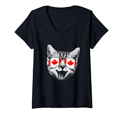 Womens Canada Flag Canadian Cat Sunglasses Funny T-Shirt Men Women V-Neck ()