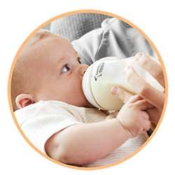 The breast like larger shaped nipple of the bottle allows baby to latch on easily