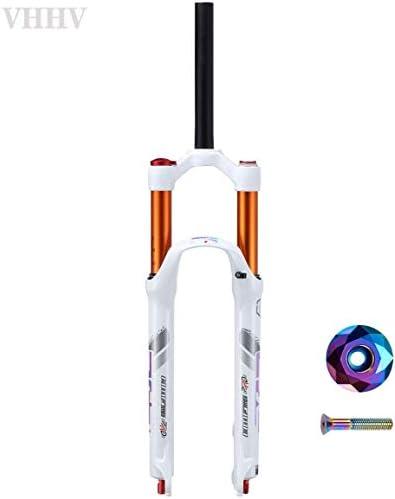 """CFJJOAT MTBフロント サスペンションフォーク26"""" 27.5"""" ホワイト自転車ヘッドセットセット44mm、トラベル:120mm空気システム調整可能なダンピング (Color : Red)"""