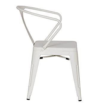 Adeco 2016 New Metal Chair in Cream White Color Set of Two