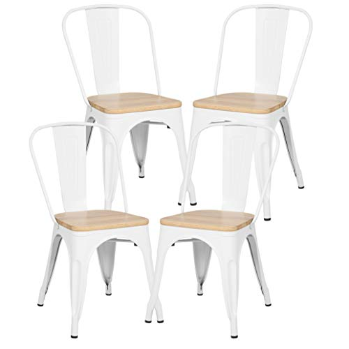 Poly and Bark Trattoria Kitchen and Dining Metal Side Chair with Oak Wood Seat in White (Set of 4) (Side Dining Oak Chairs)