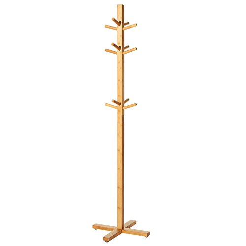 MyGift Entryway Bamboo Wood Garment Rack, Freestanding Coat & Hat Stand with 12 Hooks ()