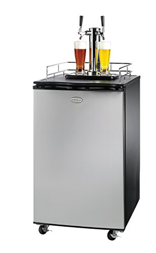 Nostalgia KRS6100SS 6.1 Cubic-Foot Full Size Double Tap Stainless Steel Draft Beer (Pony Keg Dispenser)