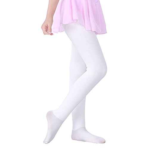 LOLANTA Girls Winter Warm Leggings Pants Thick Fleece Tight (White, 7-11 Years) ()