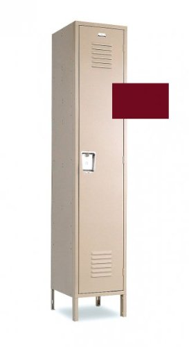 Single Tier Single Wide Steel Storage Lockers Tall 12 x 15 Burgundy by Penco Products