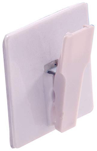 Hillman Hardware Essentials 852987 Spring Clip Hook White Adhesive Backed 2-Pack