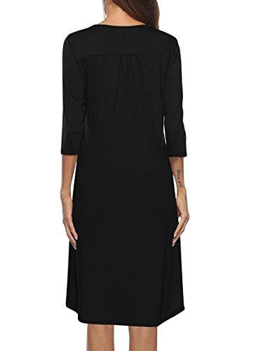 Dress 3 Sleeve Button Neck Shirt Loose Yidarton Swing Tunic Women's Casual Black V 4 Cw1tBpqx7