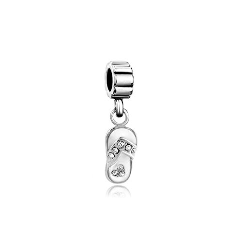Q&Locket 925 Sterling Silver White Enamel Flip-flop Beach Sandal Charm For Bracelet ()