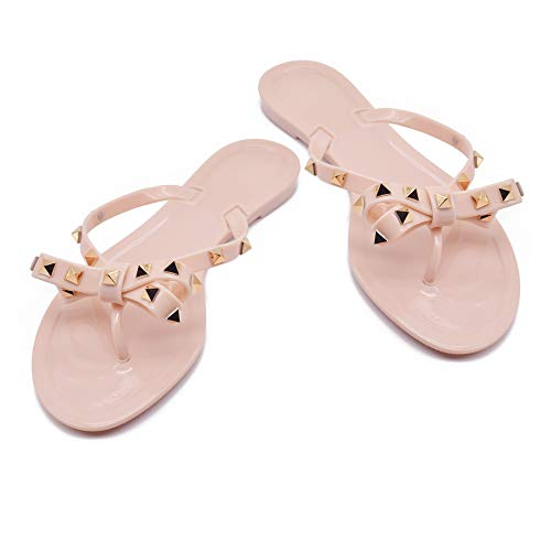 - TAISFY Women Bow Rivets Flip-Flops Sandals Bowtie Jelly Thong Flats Rubber Beach Rain Slippers(7 M US,Beige)