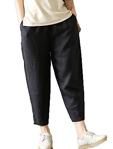 LaovanIn Women's Linen Cropped Pants Tapered Ankle Capris Trousers Elastic Waist Large Black