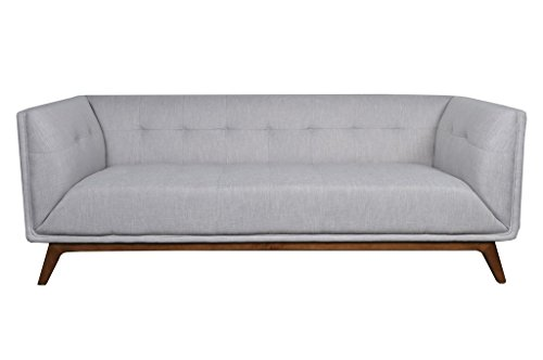Mid Century Modern Linen Fabric, Bronwood, 3 Seater Sofa, Light Grey ✮ ✮ Comfortable Tufted Seats ✮ Very Minimal Assembly ✮ Satisfaction Gaurantee ✮ 1 Year Warranty