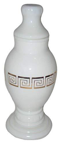 Fenton Key - Vintage Milk Glass 10x4 inch Greek Gold Key Pattern Urn Apothecary Jar w/Lid