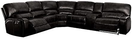 ACME Furniture Saul Sectional Sofa with Power Recliners, Black Leather-Aire