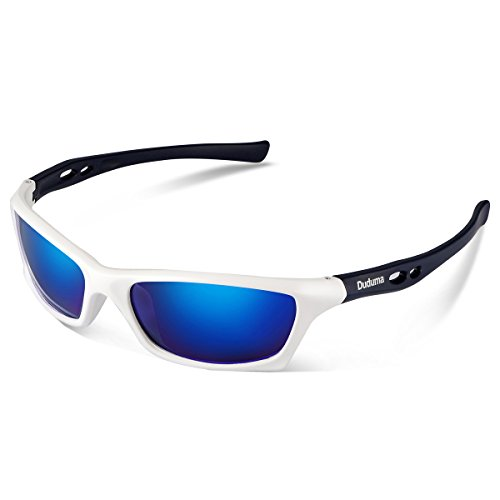 Duduma Mens and Womens Polarized Sports Sunglasses for Baseball Softball Fishing Golf Running Cycling Driving Hiking Unbreakable Shades Du649 (White frame with blue - For Running Shades