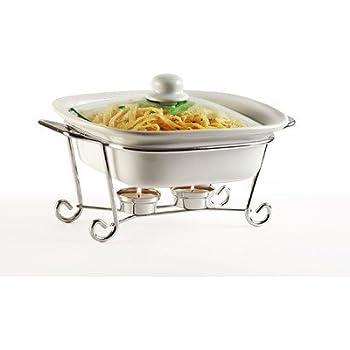 Amazon Com Circleware Ceramic Chafer Double Buffet Server