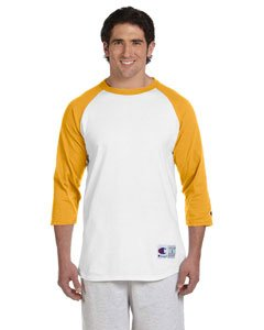 Champion Men's Raglan Baseball T-Shirt, White/Gold, - Costume Squints