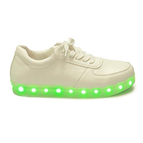 La Modeuse-zapatillas con plataforma para luces LED, Blanco (blanco), 37