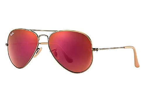 Ray-Ban RB3025 Aviator Large Metal Unisex Sunglasses (Brushed Bronze Frame/Red Mirror Lens 167/2K, 58)