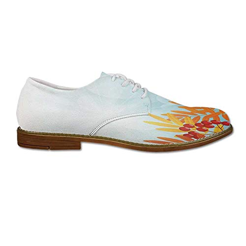 Sunny Oxford Designs (Rowan Leather Oxford Dress Shoe,Sunny Background with Red Rowan Fruits on Branches Graphic Border Design for Men,US 12)