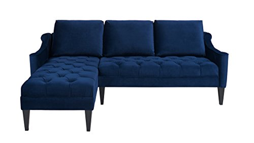 Jennifer Taylor Home Amelie Collection Modern Hand Tufted Accented Reversible Velvet R/L Arm Facing Sectional Sofa with Wooden Legs, Navy Blue (Facing Apartment Sofa)