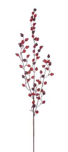 NapCo 30-Inch Long Crabapple Waterberry Spike Floral (Cranberry Stems)